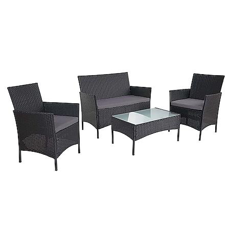 2-1-1 Poly-Rattan Garten-Garnitur Hamar, Sitzgruppe Lounge-Set Sofa ~ anthrazit, Kissen anthrazit - Bild 1