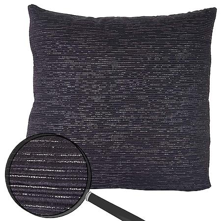 Zierkissen Schwarz, Sofakissen Deko-Kissen mit Füllung, silber Glanz-Effekt 42x42cm - Bild 1