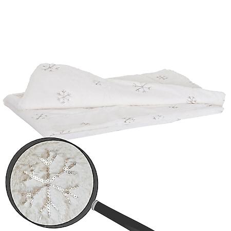 Kuscheldecke Schnee, Tagesdecke Wohndecke Sofadecke, flauschig weiß Pailletten 150x120cm - Bild 1