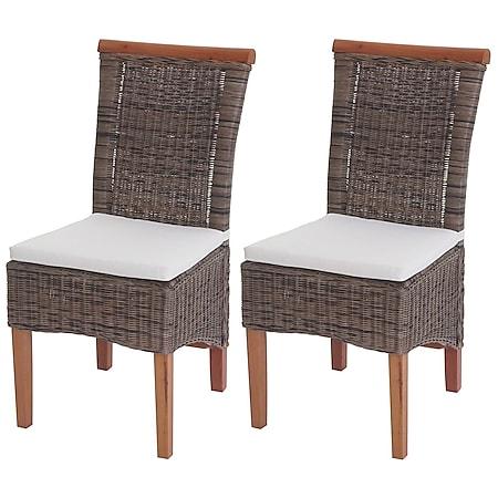2x Esszimmerstuhl Sinio, Stuhl Küchenstuhl, Rattan ~ mit Sitzkissen - Bild 1