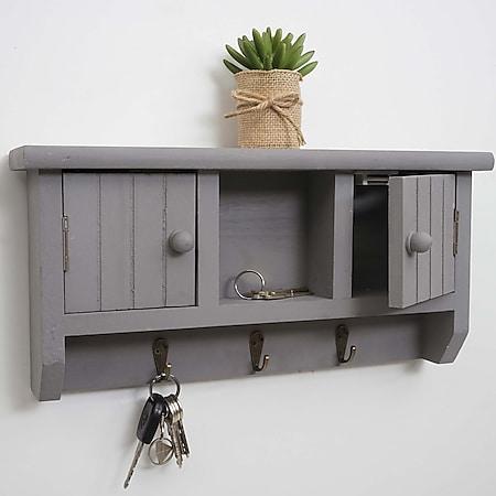 Schlüsselbrett MCW-A48, Schlüsselkasten Schlüsselboard mit Türen, Massiv-Holz ~ grau - Bild 1
