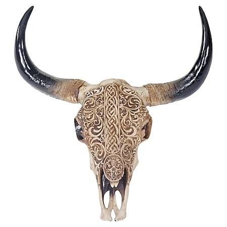 Deko Skull 45cm, Polyresin Stier Bulle Longhorn Kopf Trophäe mit Tribal, In-/Outdoor - Bild 1
