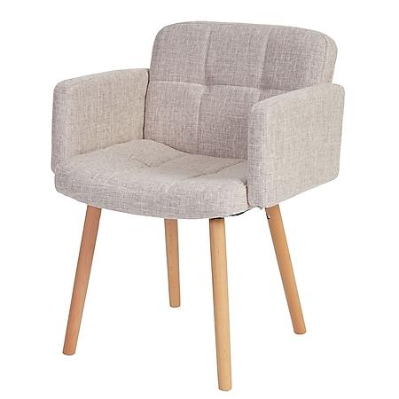 Esszimmerstuhl Houston II, Stuhl Küchenstuhl, Retro-Design ~ Textil, creme/grau - Bild 1
