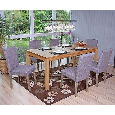 6x Esszimmerstuhl Littau, Stuhl Küchenstuhl ~ Textil, grau, Beine Struktur - Eiche - Bild 1