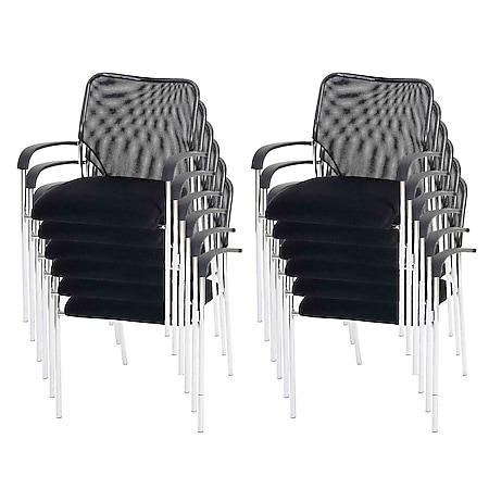 12x Besucherstuhl Tucson, Konferenzstuhl stapelbar, Stoff/Textil ~ Sitz schwarz, Rückenfläche schwarz - Bild 1
