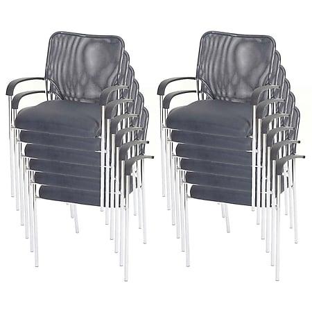 12x Besucherstuhl Tucson Konferenzstuhl stapelbar, Stoff/Textil ~ Sitz grau, Rückenfläche grau - Bild 1