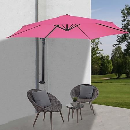 Wandschirm Acerra, Ampelschirm Balkonschirm Sonnenschirm, 3m neigbar, Polyester Alu/Stahl 9kg ~ pink-rosarot - Bild 1