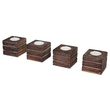 4er Set Teelichtständer Tolve, Teelichthalter, Shabby-Look Vintage 7x8x8cm ~ braun - Bild 1