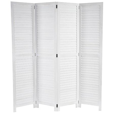 Paravent MCW-C30, Raumteiler Trennwand Sichtschutz, Shabby-Look Vintage, 170x160cm ~ weiß - Bild 1