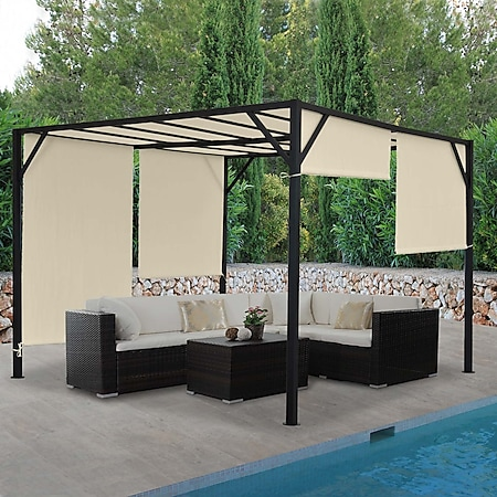 Pergola Beja, Garten Pavillon Terrassenüberdachung, stabiles 6cm-Stahl-Gestell + Schiebedach ~ 4x3m - Bild 1