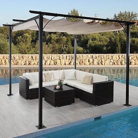 Pergola MCW-C42, Garten Pavillon, stabiles 6cm-Gestell + Schiebedach ~ 3,5x3,5m creme - Bild 1