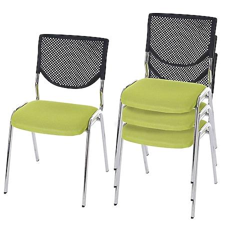 4x Besucherstuhl H401, Konferenzstuhl stapelbar, Stoff/Textil ~ Sitz grün, Füße chrom - Bild 1