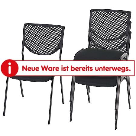 4x Besucherstuhl H401, Konferenzstuhl stapelbar, Stoff/Textil ~ Sitz schwarz, Füße schwarz - Bild 1