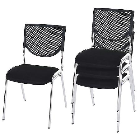 4x Besucherstuhl H401, Konferenzstuhl stapelbar, Stoff/Textil ~ Sitz schwarz, Füße chrom - Bild 1