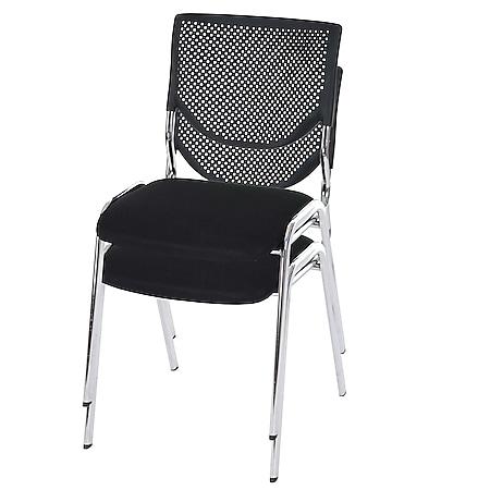 2x Besucherstuhl H401, Konferenzstuhl stapelbar, Stoff/Textil ~ Sitz schwarz, Füße chrom - Bild 1