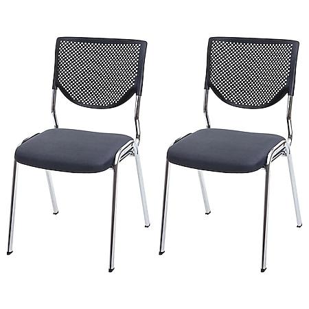 2x Besucherstuhl H401, Konferenzstuhl stapelbar, Stoff/Textil ~ Sitz dunkelgrau, Füße chrom - Bild 1