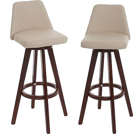 2x Barhocker MCW-C43, Barstuhl Tresenhocker, Holz Kunstleder drehbar ~ creme, dunkle Beine - Bild 1