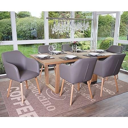 6x Esszimmerstuhl Vaasa T381, Stuhl Küchenstuhl, Retro 50er Jahre Design ~ Kunstleder, taupe-grau, helle Beine - Bild 1