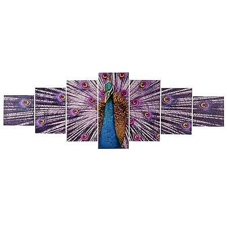 Leinwandbild H375 XL, Wandbild Keilrahmenbild Kunstdruck, 7-teilig 245x87cm ~ Pfau - Bild 1