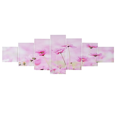 Leinwandbild H375 XL, Wandbild Keilrahmenbild Kunstdruck, 7-teilig 245x87cm ~ Blumen - Bild 1