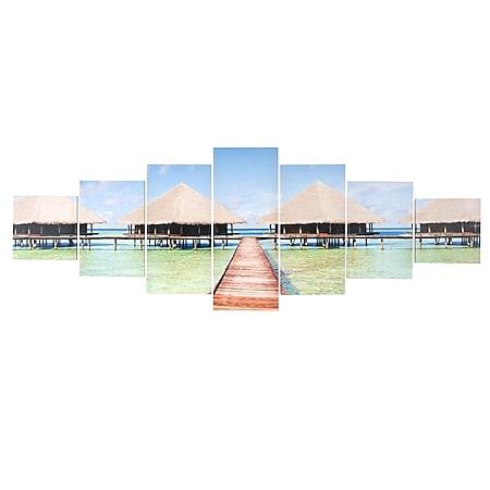 Leinwandbild H375 XL, Wandbild Keilrahmenbild Kunstdruck, 7-teilig 245x87cm ~ Beach - Bild 1