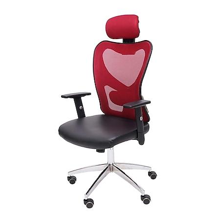 Profi-Bürostuhl Pamplona, Chefsessel Drehstuhl Schreibtischstuhl, Kunstleder ~ rot - Bild 1
