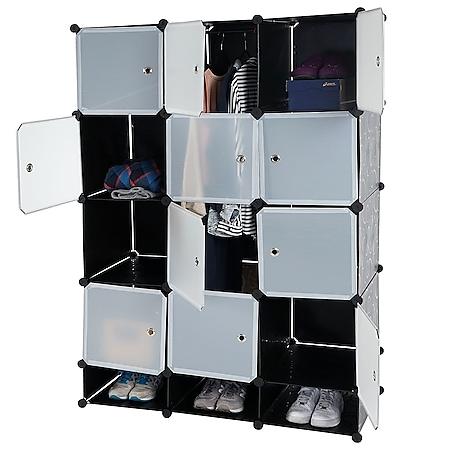 Regalsystem Cairns T306, Steckregal Garderobe Kleiderschrank, 8 Boxen je 37x37x47cm schwarz - Bild 1
