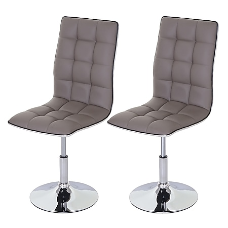 2x Esszimmerstuhl MCW-C41, Stuhl Küchenstuhl, Kunstleder ~ taupe-grau - Bild 1