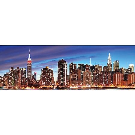 LED-Bild, Leinwandbild Wandbild Leuchtbild, Timer ~ 120x40cm New York, flackernd - Bild 1