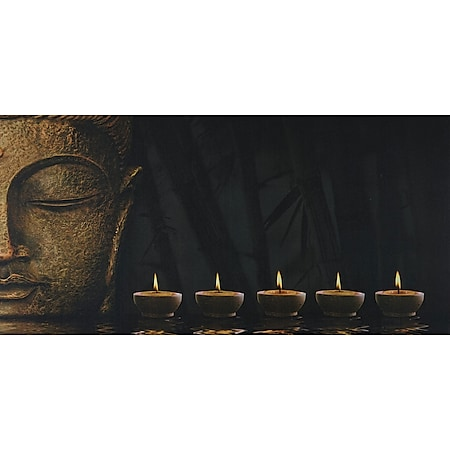 LED-Bild, Leinwandbild Wandbild Leuchtbild, Timer ~ 110x55cm Buddha, flackernd - Bild 1