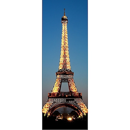 LED-Bild, Leinwandbild Wandbild Leuchtbild, Timer ~ 100x35cm Eifelturm - Bild 1