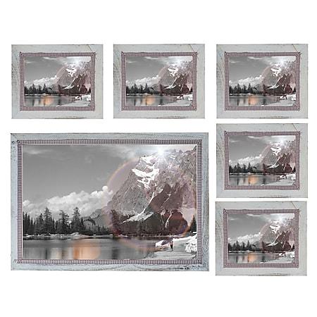 Bilderrahmen Set H248, Fotorahmen Holzrahmen, 5x 19x24cm 1x 36x51cm Shabby Landhaus ~ weiß - Bild 1