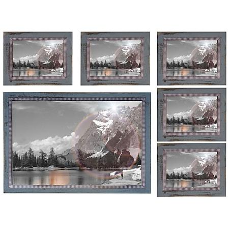 Bilderrahmen Set H248, Fotorahmen Holzrahmen Wand-Rahmen, 5x 19x24cm 1x 36x51cm Shabby Landhaus ~ grau - Bild 1