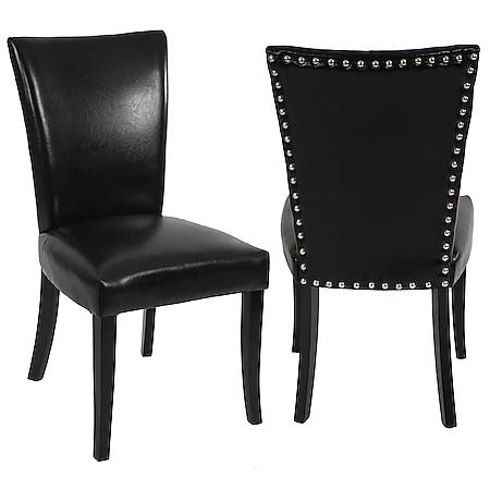 2x Esszimmerstuhl Chesterfield Edinburgh, Stuhl Küchenstuhl, Nieten ~ Kunstleder, schwarz, helle Beine - Bild 1