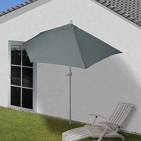 Sonnenschirm halbrund Lorca, Halbschirm Balkonschirm, UV 50+ Polyester/Alu 3kg ~ 300cm anthrazit ohne Ständer - Bild 1