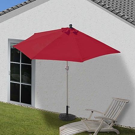 Sonnenschirm halbrund Lorca, Halbschirm Balkonschirm, UV 50+ Polyester/Alu 3kg ~ 270cm bordeaux mit Ständer - Bild 1