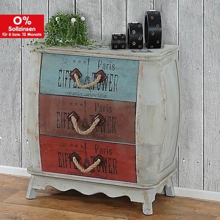 Kommode Cadiz Schubladenkommode Schrank Shabby-Look, Vintage, 74x70x36cm - Bild 1