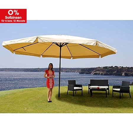 Sonnenschirm Carpi Pro, Gastronomie Marktschirm mit Volant Ø 5m Polyester/Alu 28kg ~ creme ohne Ständer - Bild 1