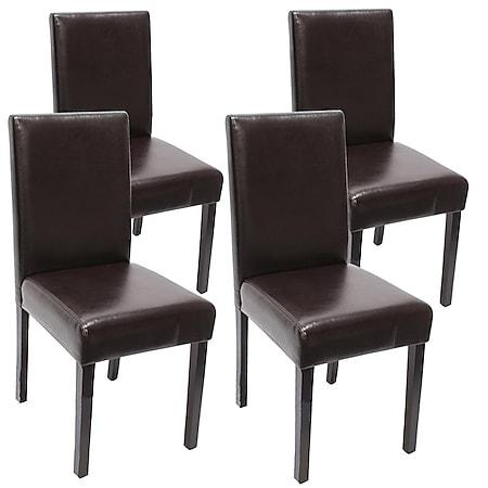 4x Esszimmerstuhl Stuhl Küchenstuhl Littau ~ Leder, braun dunkle Beine - Bild 1