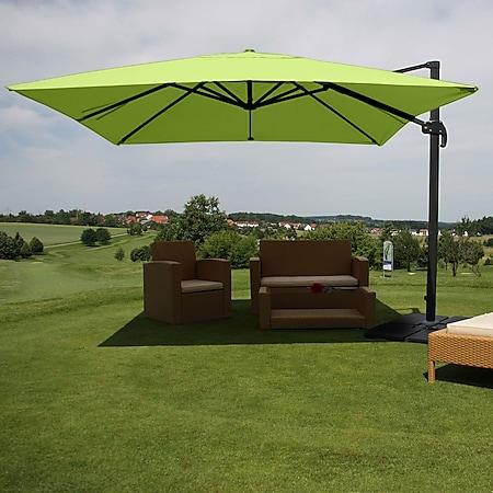 Gastronomie-Ampelschirm MCW-A96, Sonnenschirm, 3x3m (Ø4,24m) Polyester/Alu 23kg ~ grün mit Ständer - Bild 1