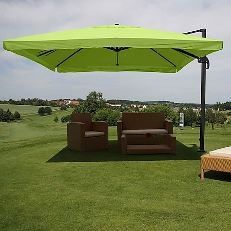 Gastronomie-Ampelschirm MCW-A96, Sonnenschirm, 3x3m (Ø4,24m) Polyester/Alu 23kg ~ Flap, grün ohne Ständer, drehbar - Bild 1