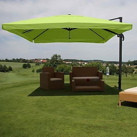 Gastronomie-Ampelschirm MCW-A96, Sonnenschirm, 3x3m (Ø4,24m) Polyester/Alu 23kg ~ Flap, grün ohne Ständer - Bild 1