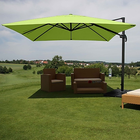 Gastronomie-Ampelschirm MCW-A96, Sonnenschirm, 3x3m (Ø4,24m) Polyester/Alu 23kg ~ grün mit Ständer, drehbar - Bild 1