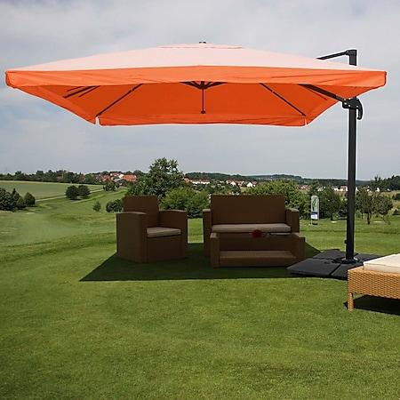 Gastronomie-Ampelschirm MCW-A96, Sonnenschirm, 3x4m (Ø5m) Polyester/Alu 26kg ~ Flap, terrakotta mit Ständer, drehbar - Bild 1