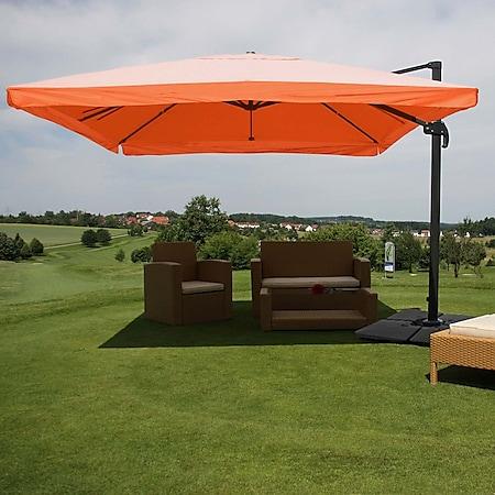 Gastronomie-Ampelschirm MCW-A96, Sonnenschirm, 3x4m (Ø5m) Polyester/Alu 26kg ~ Flap, terrakotta mit Ständer - Bild 1