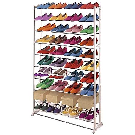 Schuhregal Schuhablage, Kunststoff, Metall Querstreben, weiß ~ für 40 Paar Schuhe - Bild 1