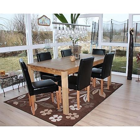 6x Esszimmerstuhl Stuhl Küchenstuhl Littau ~ Kunstleder, schwarz, helle Beine - Bild 1