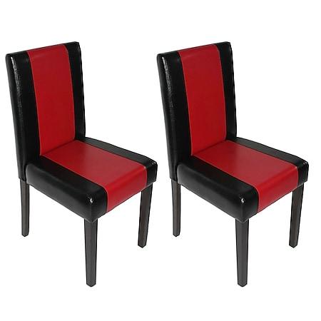 2x Esszimmerstuhl Küchenstuhl Stuhl Littau ~ schwarz-rot, dunkle Beine - Bild 1