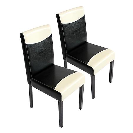 2x Esszimmerstuhl Küchenstuhl Stuhl Littau ~ schwarz-weiß, dunkle Beine - Bild 1