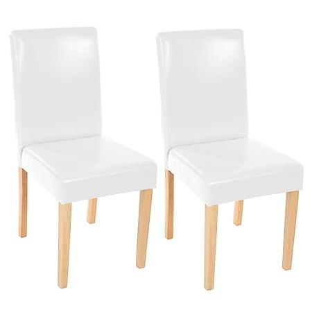 2x Esszimmerstuhl Stuhl Küchenstuhl Littau ~ Kunstleder, weiß, helle Beine - Bild 1
